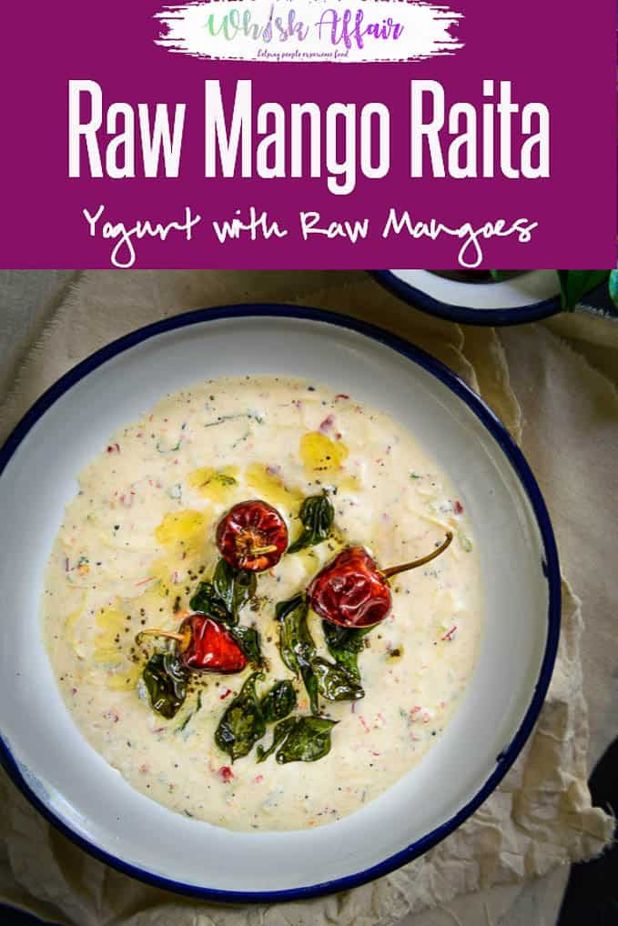 Kairi Ka Raita or Raw Mango Raita is a simple accompaniment made with raw mango and yogurt and it can be served with almost any Indian meal.#Indian #SideDish #Mango