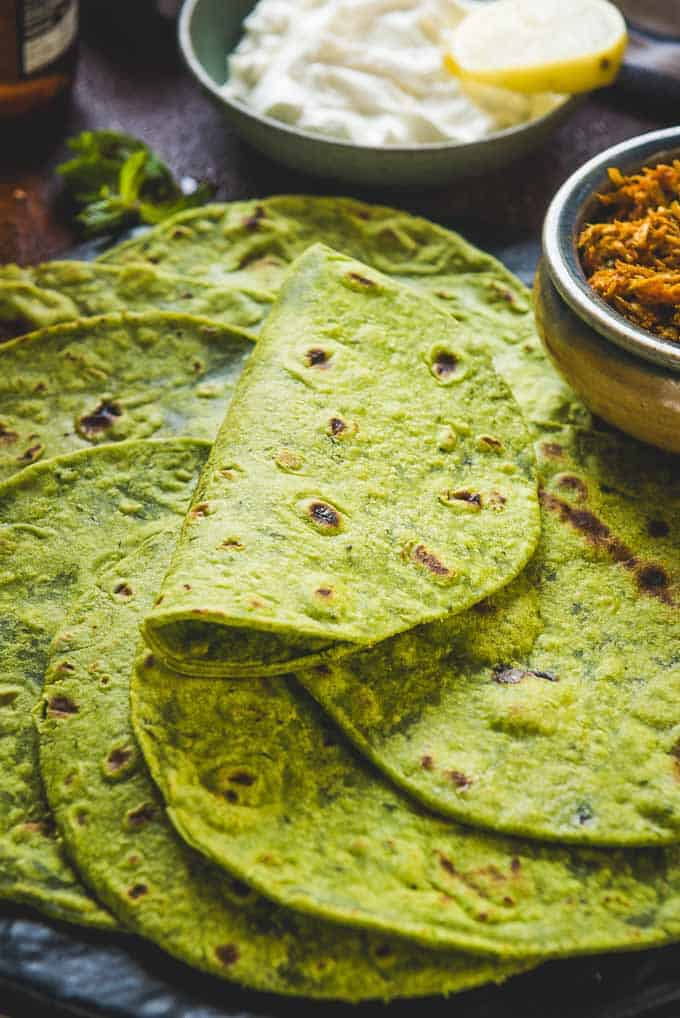 Close up shot of Spinach Tortillas Recipe