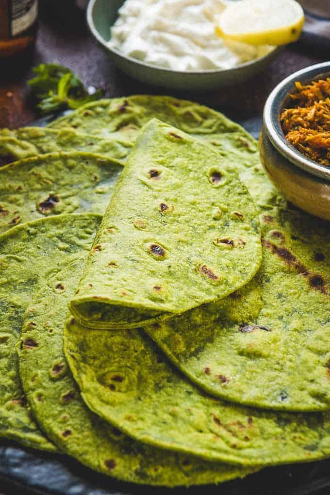 Close up shot of Spinach Tortillas Recipe