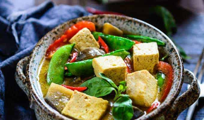 Thai Green Curry with Eggplant, Snow Peas and Tofu