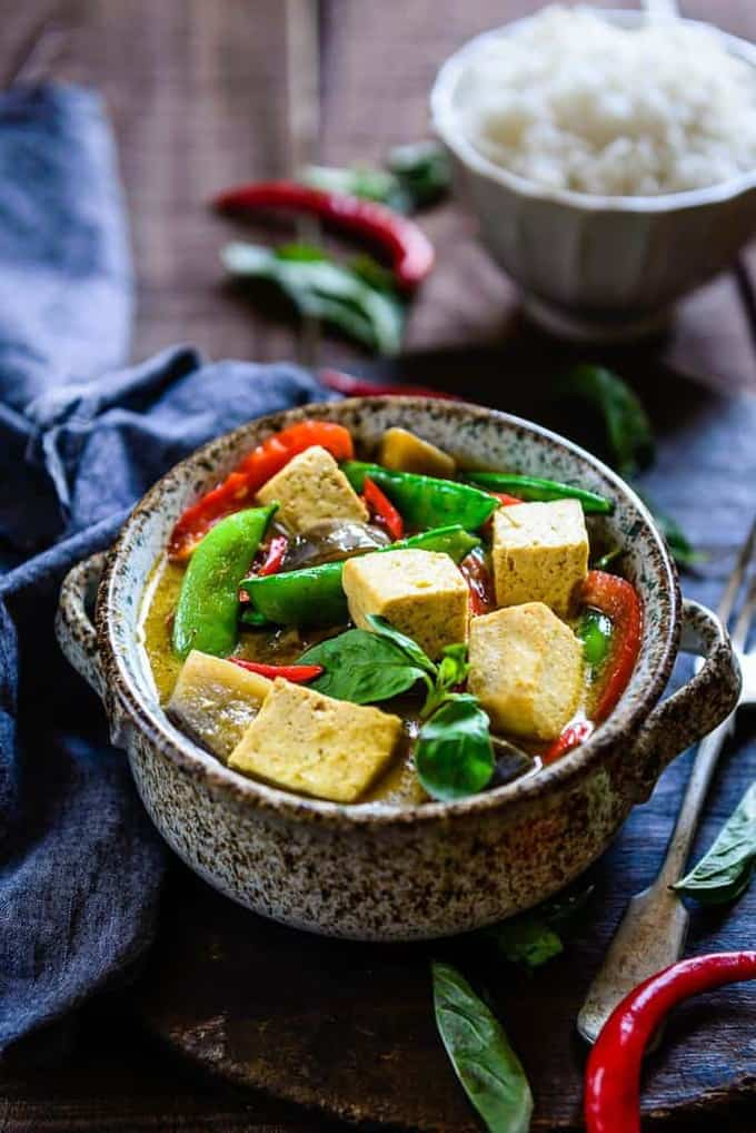 Thai Green Curry with Eggplant, Snow Peas and Tofu Recipe ...
