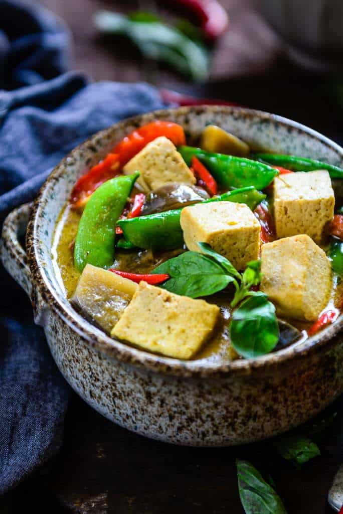Thai Green Curry with Eggplant, Snow Peas and Tofu is a delicious Thai ...