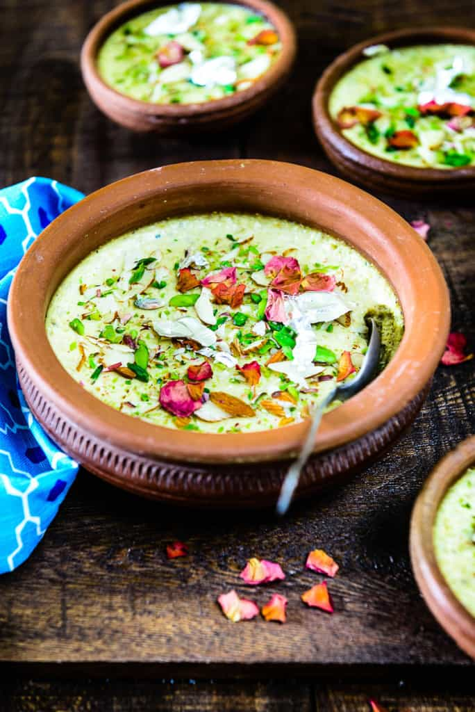 Thandai Phirni is a twist on the traditional Phirni recipe which is a rice pudding and making it very Holi-ish by adding some Thandai Masala Powder to it
