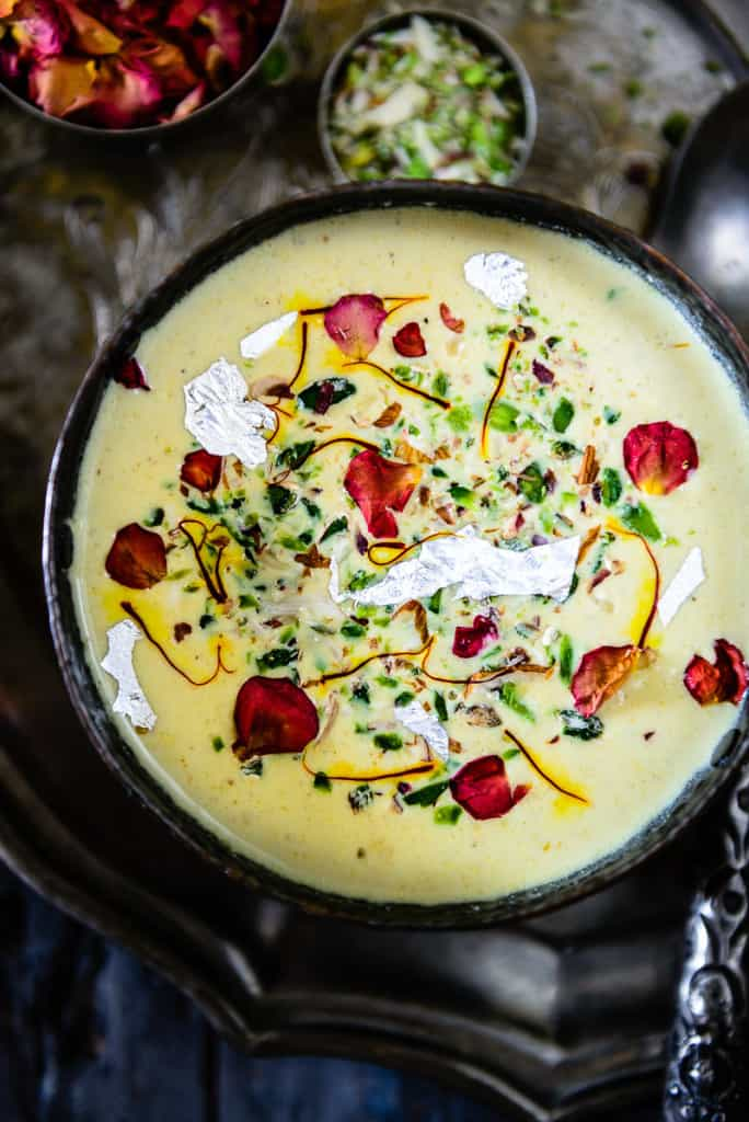 Thandai Rabdi is an Indian dessert which is made by thickening milk along with Thandai Masala.