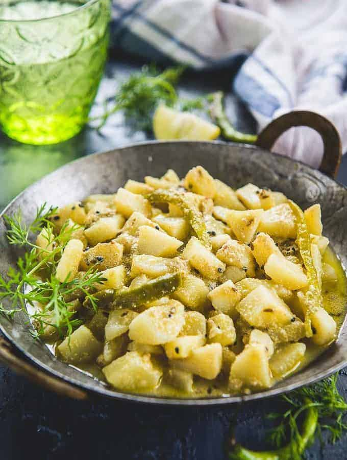 Aloo posto served in a bowl