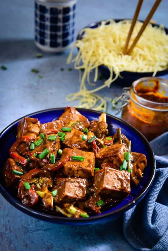 A healthy dish that doesn't compromise on taste,Asian Tofu and Vegetable Stir Fry is nutritious and has a great combination of sauces to liven it up.