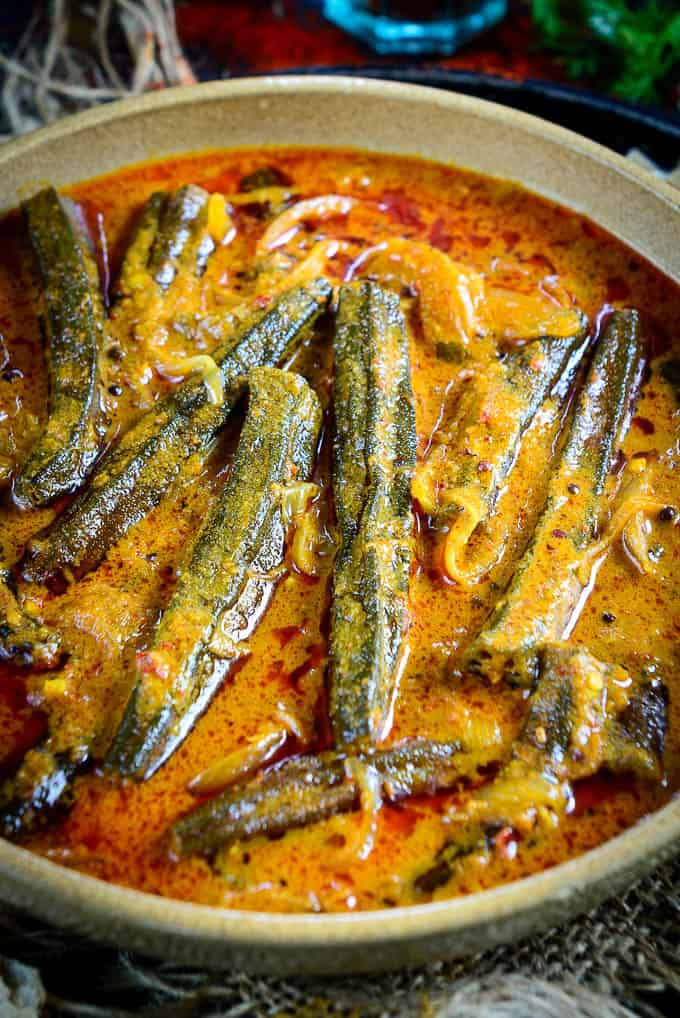 Close up shot of bhindi ka salan recipe.