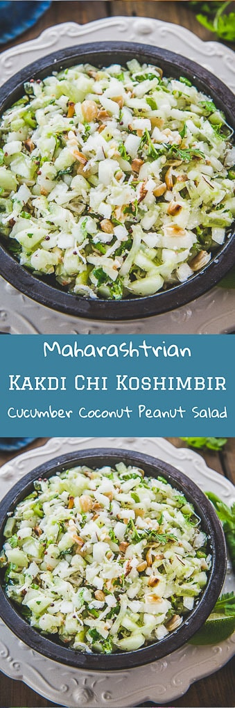 Kakdi chi Koshimbiror Khamang Kakdi is a simple Maharashtrian salad made from cucumber, peanut, coconut and few other Indian spices. Here is a simple traditional recipe to make Kakdi Chi Koshimbir. #Maharashtrian #Indian #Salad #Recipe