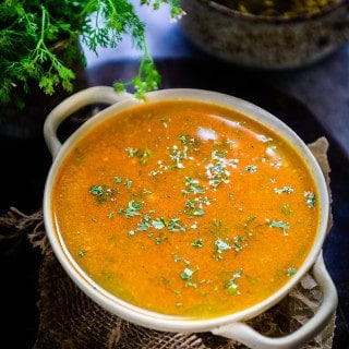 Katachi Amti is a Maharashtrian version of South Indian Rasam. Thin and watery with bold flavours , it's perfect to enjoy with rice or Puran Poli.