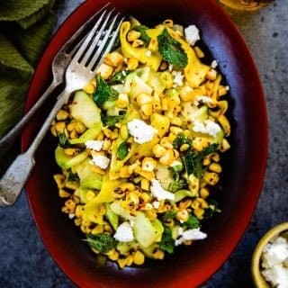 Zucchini and Roasted Corn Salad is a healthy salad which can be made in a jiffi
