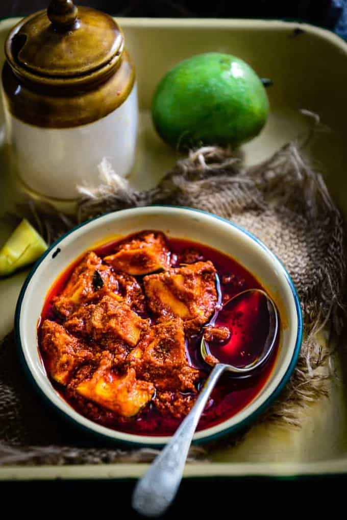 Andhra Style Mango Pickle with Ginger / Allam Avakaya