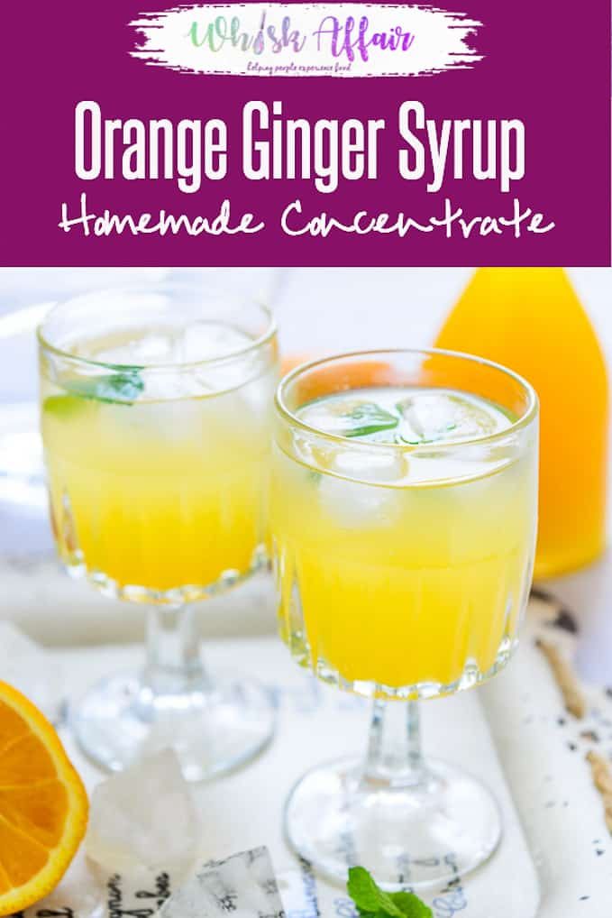 You would always find a bottle of Orange Ginger Syrup stored in my refrigerator. It is so easy to assemble coolers, slush, sherbats by using it! Here is how to make it. #Summer #Cooler #Beverage #Drinks #Orange