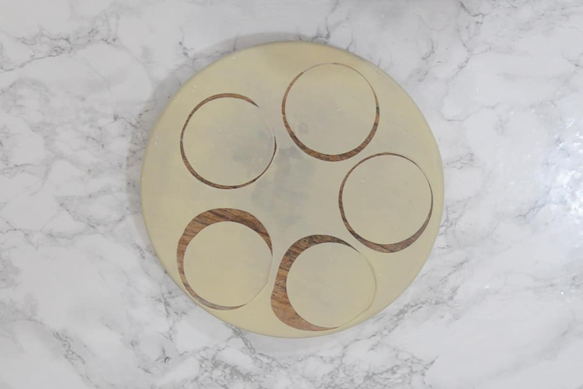 4 inch circles cut from the rolled dough.