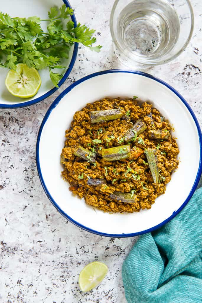 Keema Bhindi is a tasteful lamb based dish made using okra or bhindi and rich spices, condiments as well. Here is how to make it.
