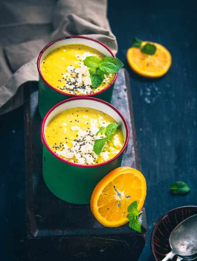 Cold Mango Cantaloupe Orange Soup is a tangy and chilled delight which can be relished any time of the day. Learn its recipe!