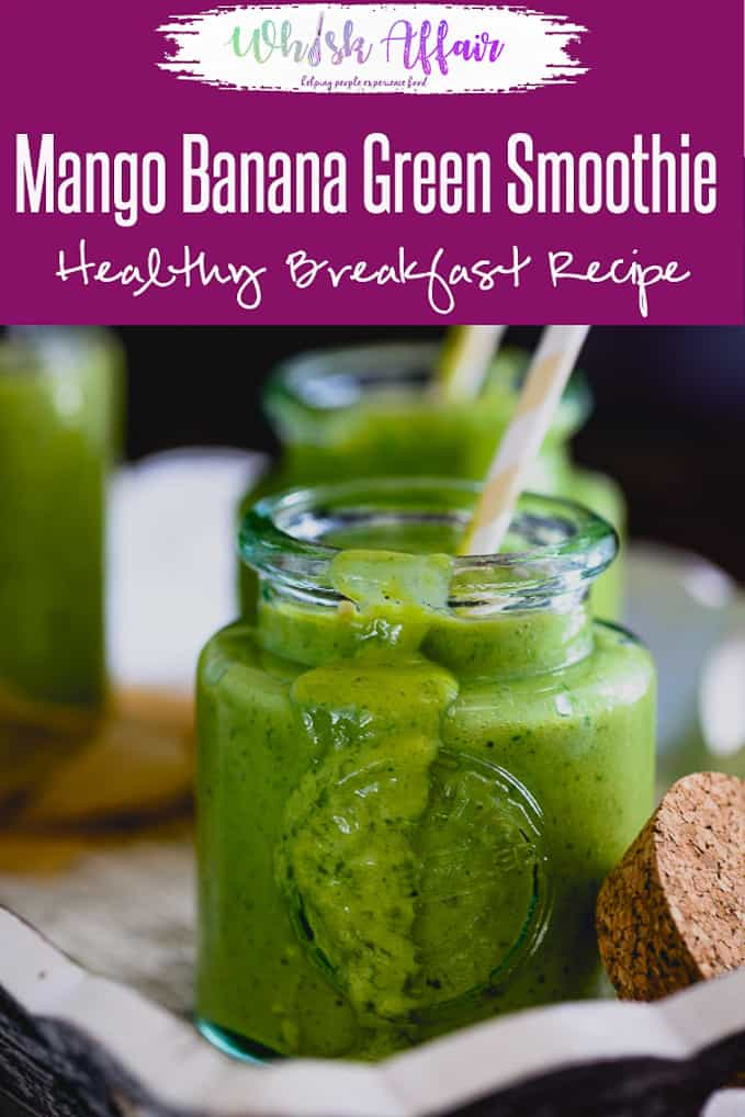 4 ingredients Healthy Mango Banana Green Smoothie Recipe is a fresh, creamy beverage which is full of fibre and refreshing flavours. Here is simple video recipe to make it. Make it while mangoes are in season. #Mango #Banana #Green #Smoothie #Vegetarian #Breakfast #Healthy