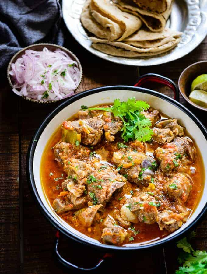 Peshawari Kadhai Gosht is an authentic Indian non-vegetarian dish made using mutton and various spices. It is best relished with any flatbreads.