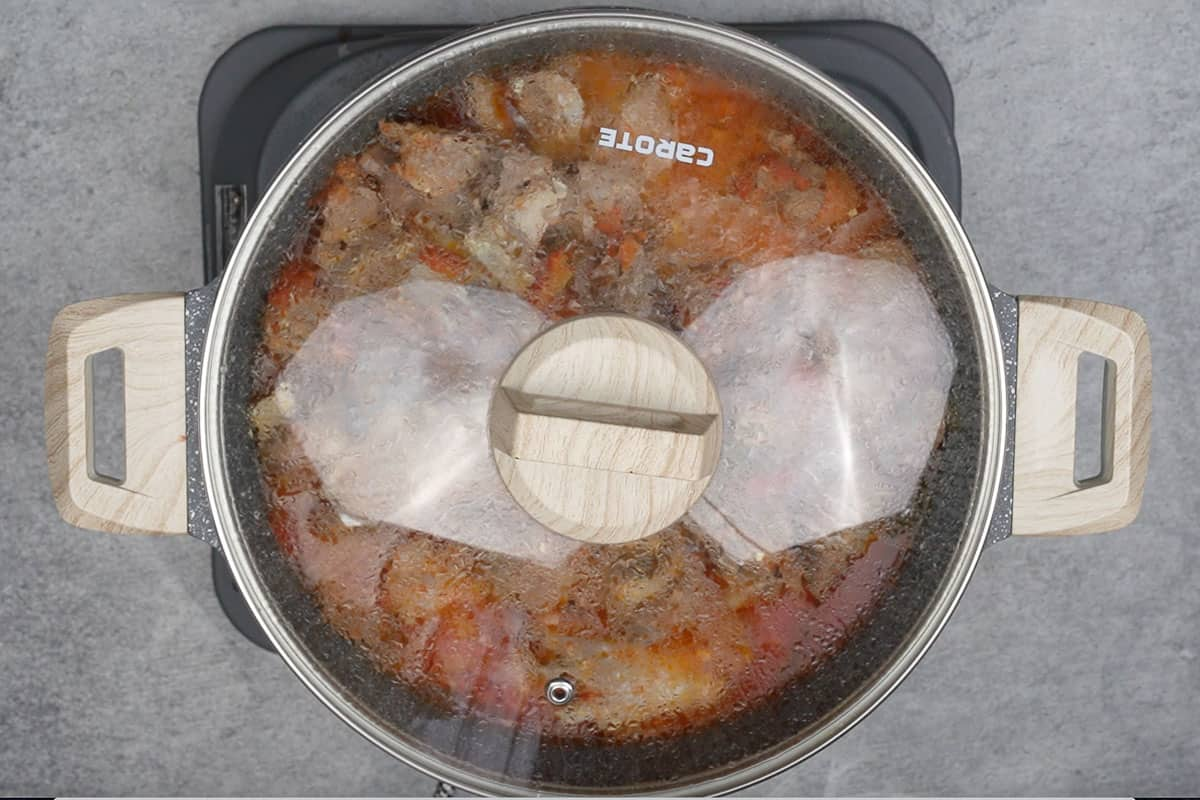 Pan covered with a lid.