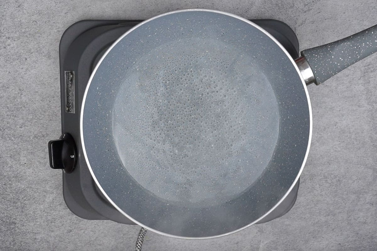 Water heating in a pan.