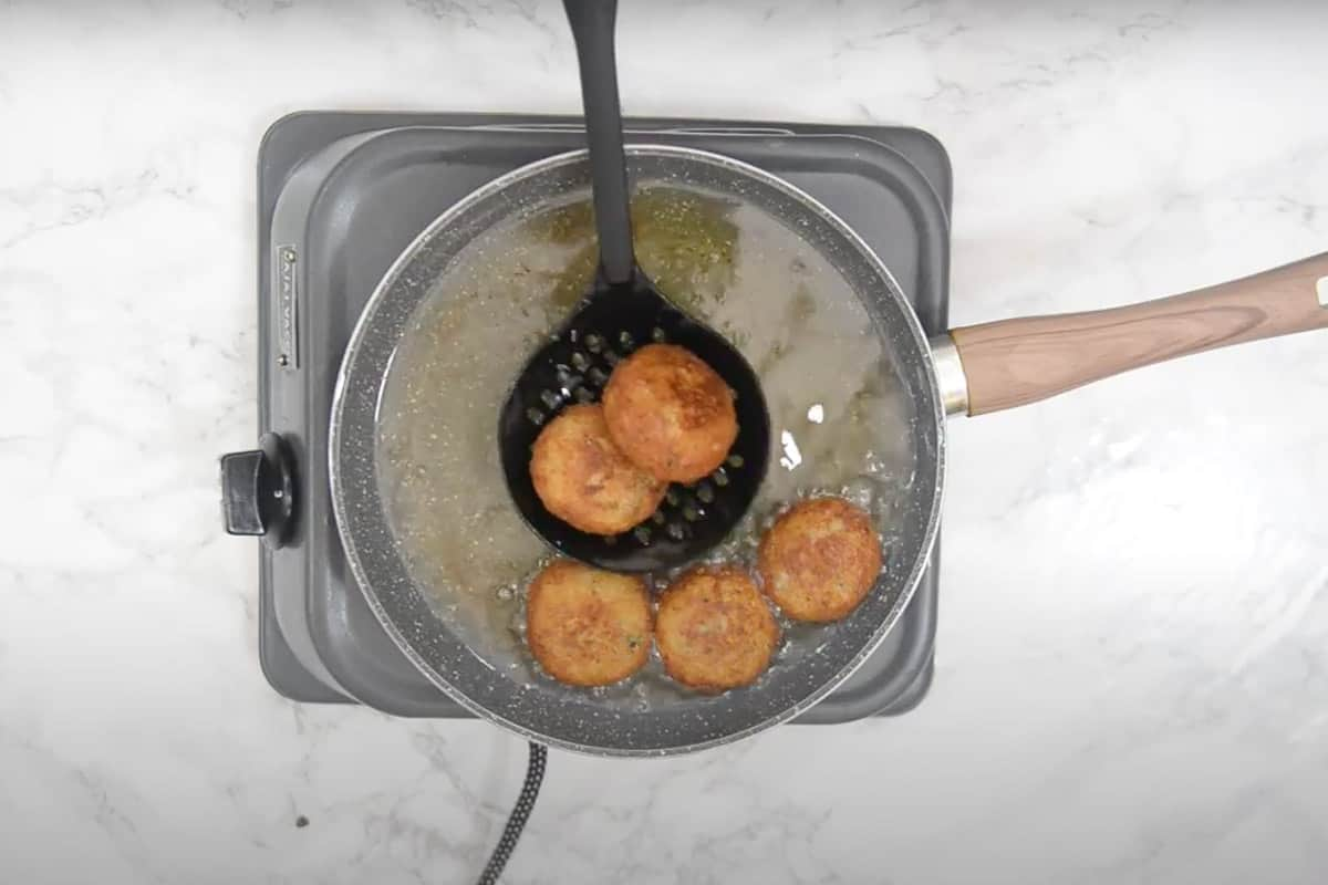Fried cutlets taken out of the oil