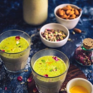 Turri is a milk based drink garnished with various dry fruits such as almonds, cashew nuts, pistachios, dried coconut and is made especially for ramzan.