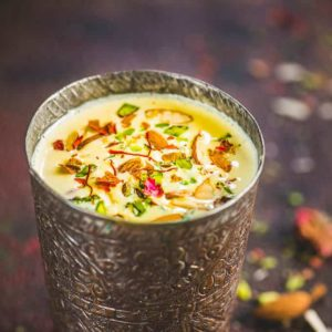 This Indian Kesar Badam Milk is loaded with goodness of almonds and saffron and is a treat to sip on.