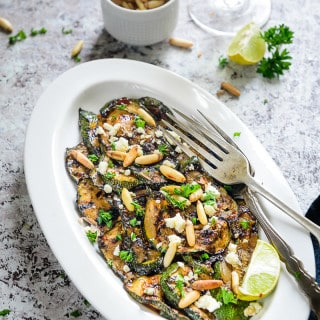 Balsamic Grilled Zucchini with Feta and Pine Nuts Recipe