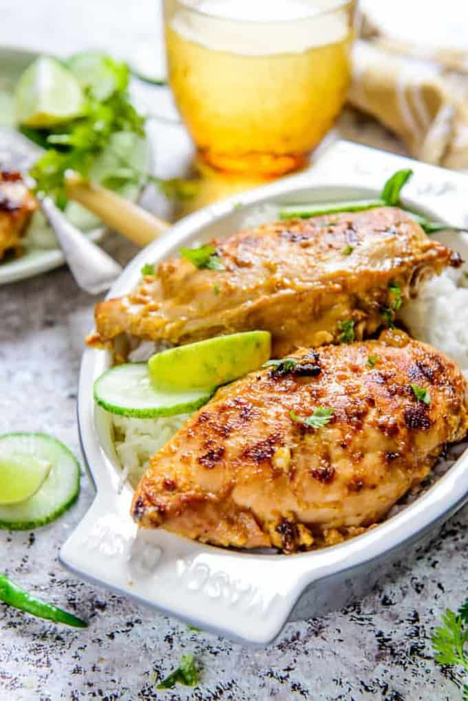 Chilli Mango BBQ Chicken is an inviting mango and chicken based dish that is served with steamed rice and various sauces.