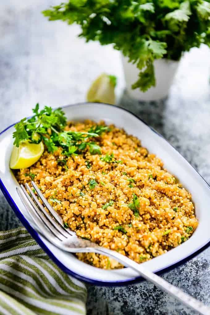 Cilantro Lime Quinoa is a healthy, refreshing side dish which tastes superb and makes up for a filling breakfast as well!
