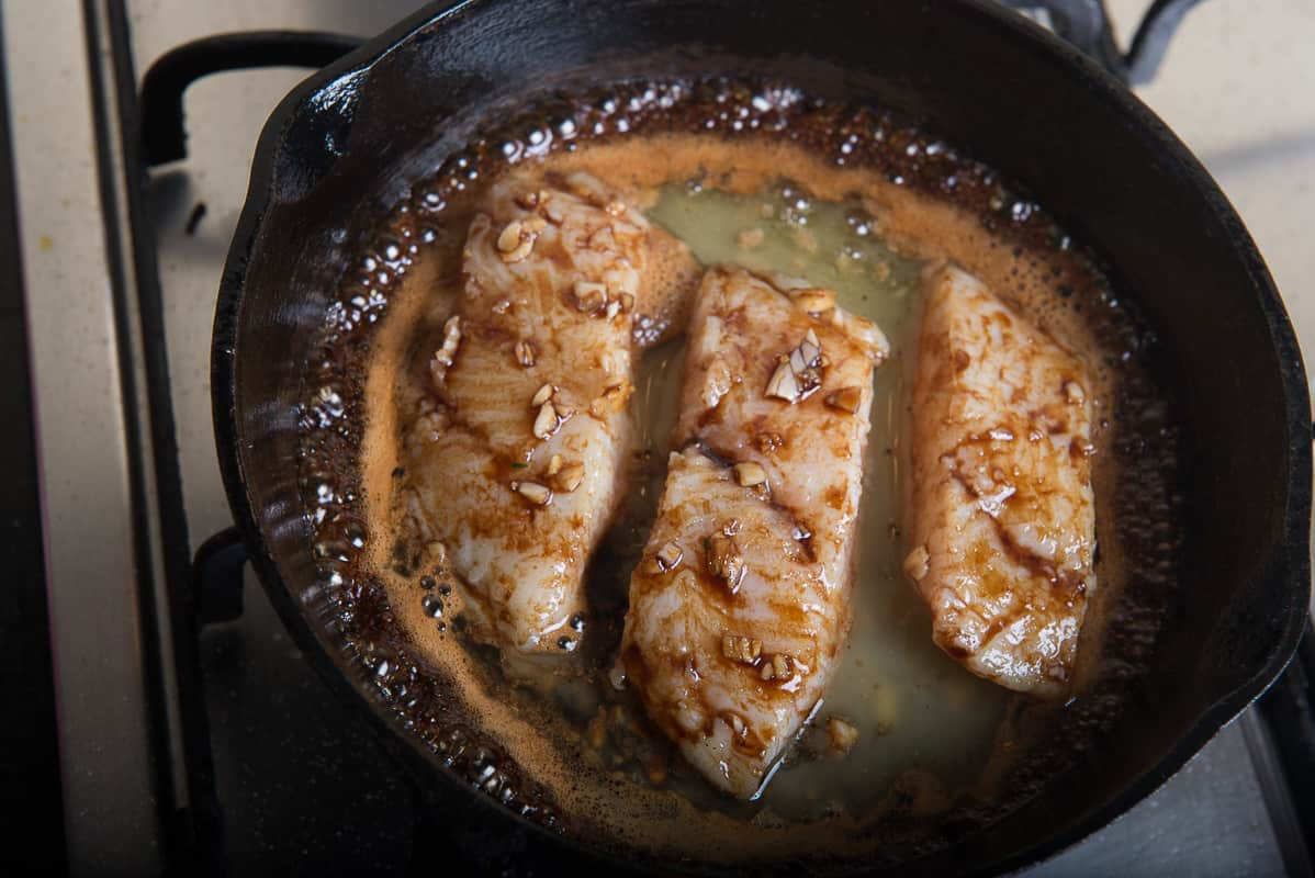 Honey Garlic mixture poured over fish fillets