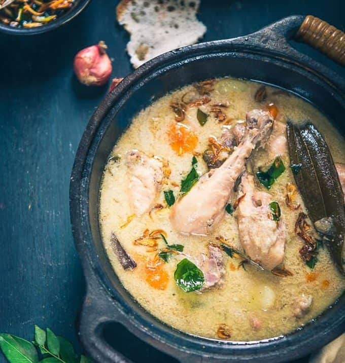 Kerala Style Chicken Stew is a very mild yet full of flavours Chicken curry which is cooked in coconut milk and with minimum spices.