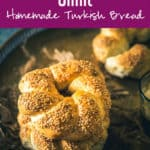 Turkish Bread Simit is a tender bread encrusted with sesame seeds which is served with salad, feta cheese, tea and can be eaten just as it is! Here is a traditional recipe to make Simit. #MiddleEastern #Bread