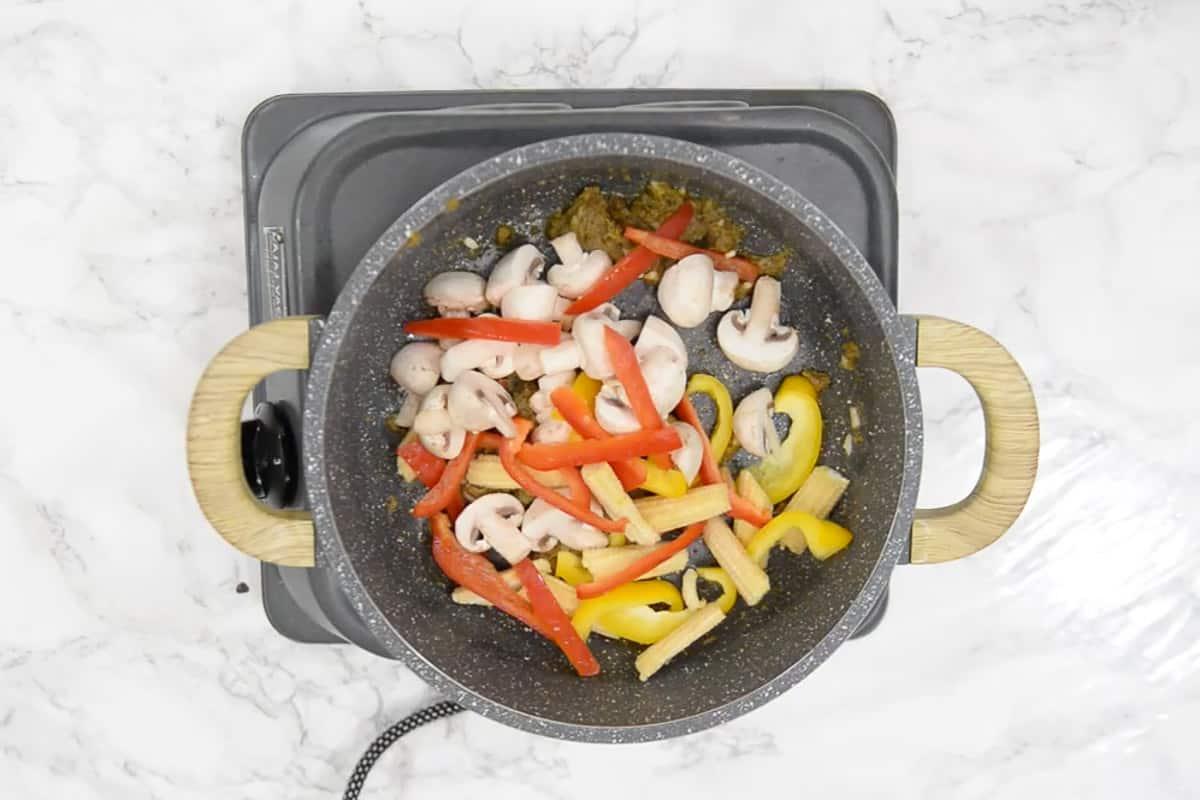Veggies added in the pan.