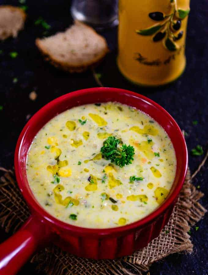 Zucchini and Corn Chowder is a creamy soup loaded with veggies and basic spices. It can be served just before dinner or can be sipped during supper!