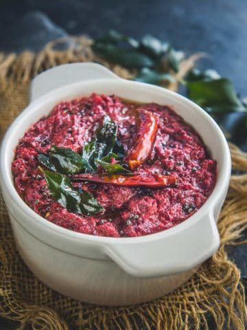 Beetroot Pachadi served in a bowl.
