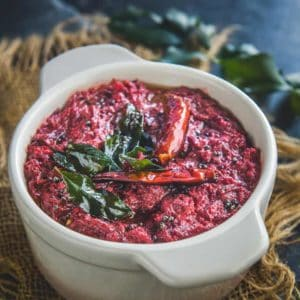 Beetroot Pachadi is a chutney style dish of beetroot which is an integral part of Onam sadya. It is quite easy to make and goes well with steamed rice.