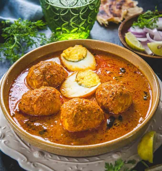 Chettinad egg curry served in a bowl.