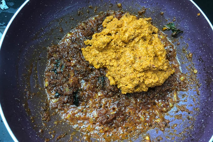 Masala paste added in the pan.