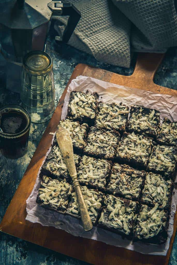 Combination of toasted coconut and luscious, dark chocolate, Dark Chocolate Coconut Brownie is nothing but pure sin! Bake them soon!