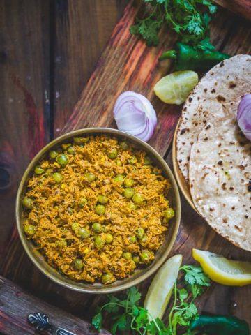 Haldi ki Sabji served in a bowl.