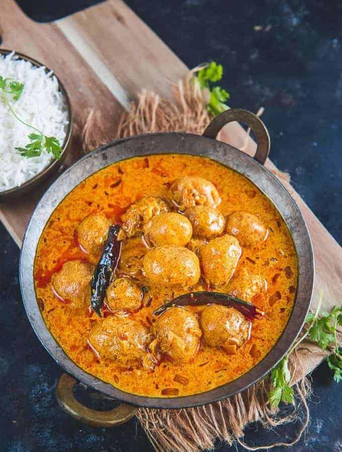 Kashmiri Dum Aloo served in a bowl.
