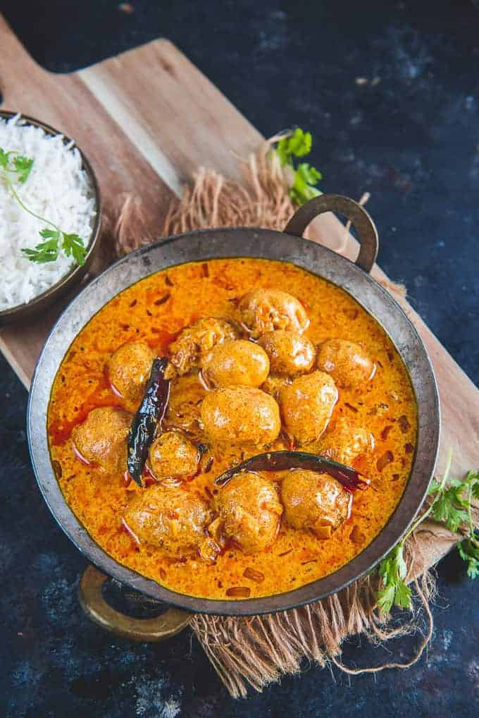 Kashmiri Dum Aloo served in a bowl.