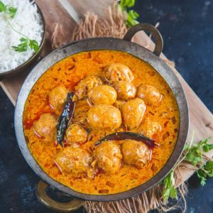 Kashmiri dum aloo is a very famous Kashmiri recipe made using baby potatoes simmered in a yogurt based gravy flavored with dry ginger powder and fennel.