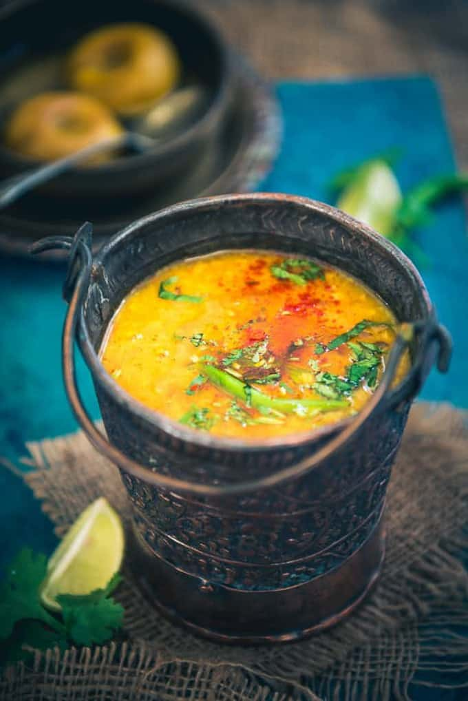 Malwa Dal is a tuvar dal based accompaniment which is simmered with generous tadka of spices. It tastes the best with Zeera Rice or piping hot phulkas.