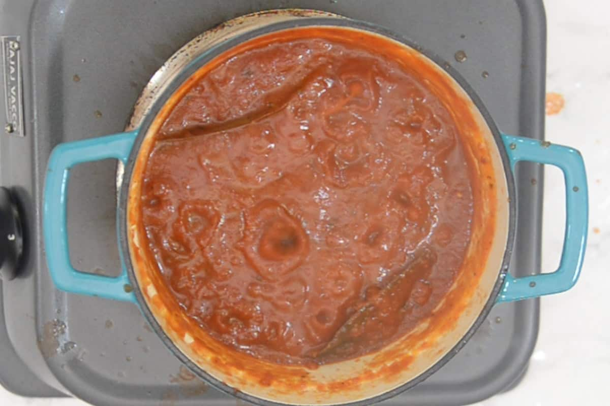 bay leaves discarded from the ready marinara sauce.