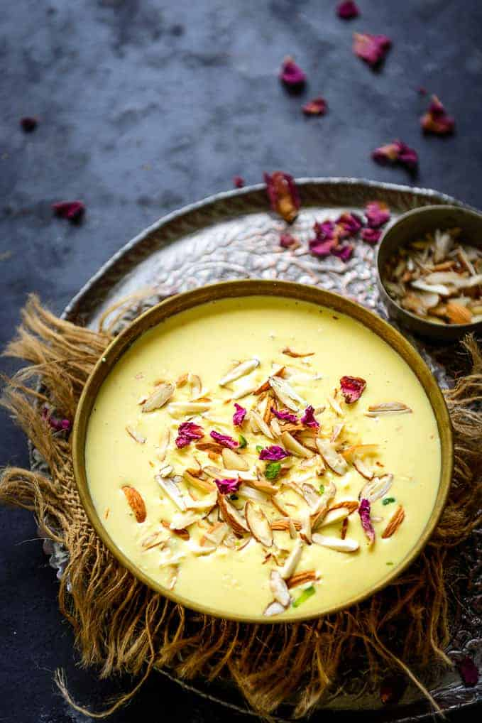 Badam Kheer served in a bowl.