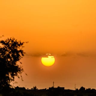 Sunset in a village in Jaisalmer