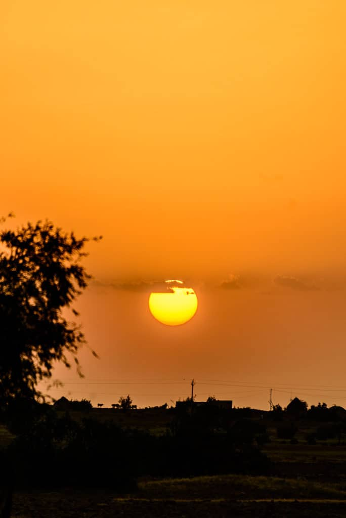 Sunset in a village in Jaisalmer