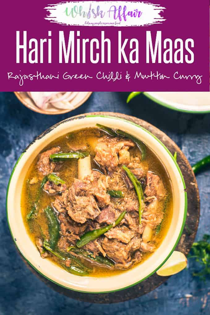 Rajasthani Hari Mirch Ka Maas is a pungent, filling accompaniment made from mutton, onion, garlic and curd. Serve it with Roti! Here is a video recipe to make it. #Indian #Mutton #Curry #Recipe #Rajasthani