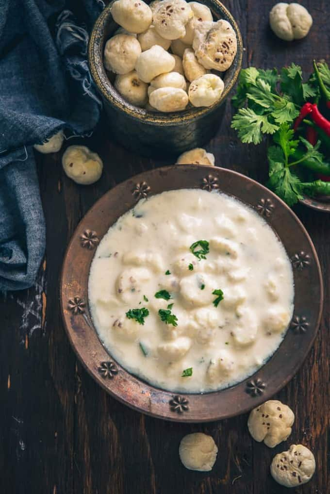 Phool Makhana Raita Recipe is a nutritious, slightly crisp accompaniment made from curd and lotus seeds. It is best to serve along with main course dishes